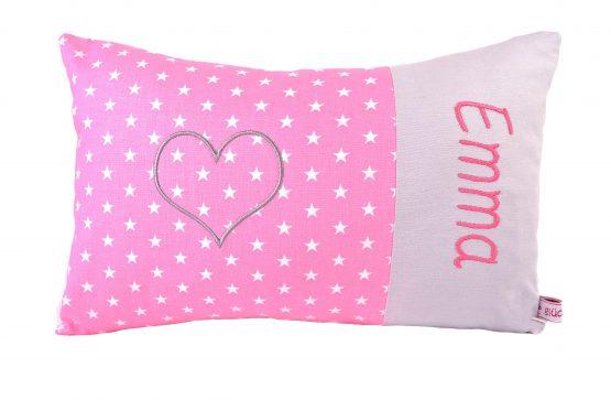 Kuschelkissen mit Namen rosa mit grauem Stern