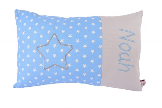 Kinderkissen mit Namen hellblau mit Stern