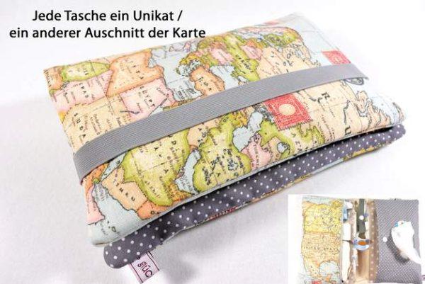 Windeltasche mit Reißverschluss Weltkarte