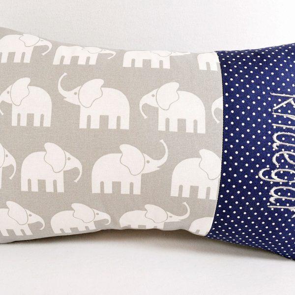 Kissen mit Namen Elefanten blau