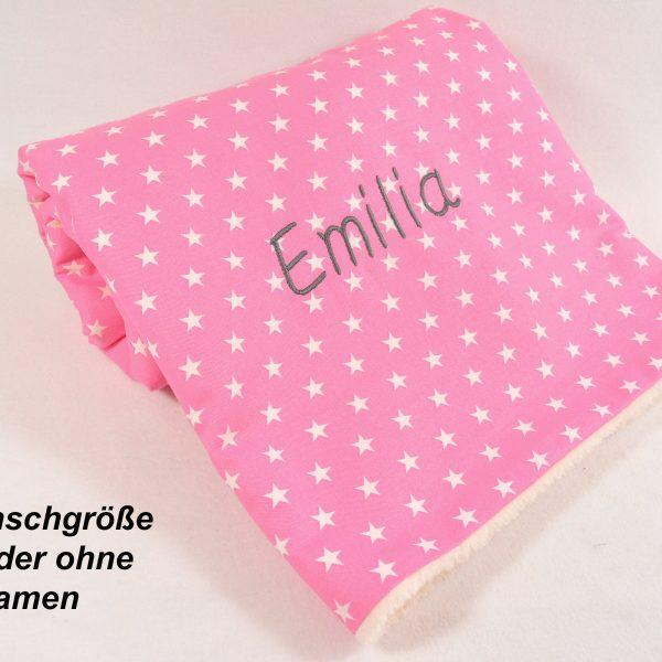 Babydecke mit Namen rosa Sterne