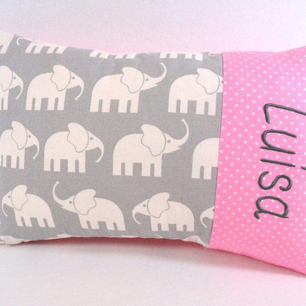 Kissen mit Namen Elefanten rosa
