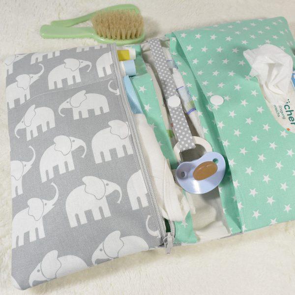 Windeltasche mit Elefanten mint