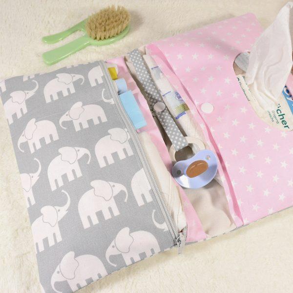 Windeltasche mit Elefanten rosa