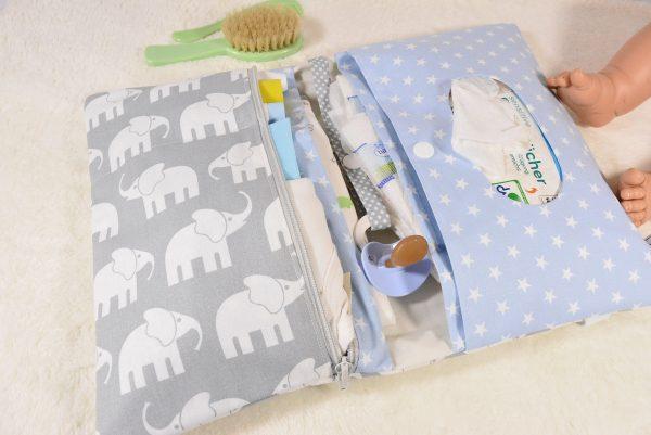 Windeltasche mit Elefanten hellblau
