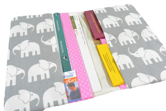 Reiseetui Reisepasshülle grau mit Elefanten rosa