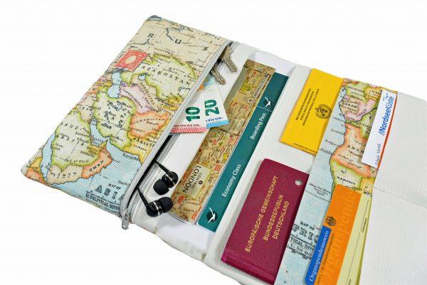 Reiseetui Reisepasshülle Weltkarte mit Kunstleder