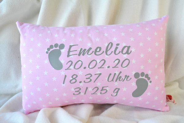 Kissen mit Geburtsdaten