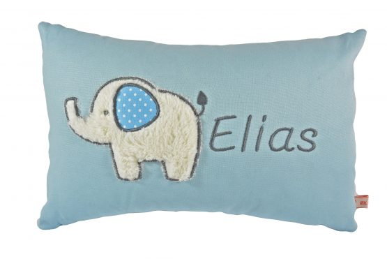 Kissen Elefant uni blau